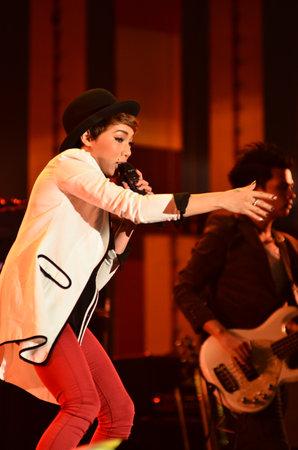 NONTABURI, THAILAND  - OCTOBER 4 : Da Endorphine singer singing in Grammy Wonderland concert on 4 October 2012 at IMPACT Challenger, Nontaburi, Thailand Stock Photo - 15669566