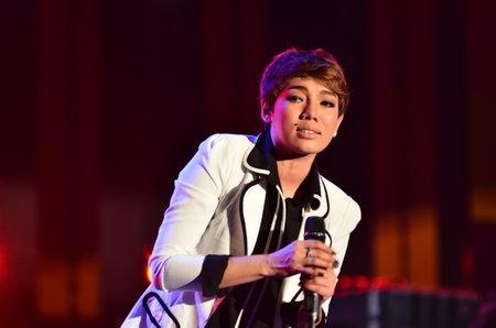 NONTABURI, THAILAND  - OCTOBER 4 : Da Endorphine singer singing in Grammy Wonderland concert on 4 October 2012 at IMPACT Challenger, Nontaburi, Thailand Stock Photo - 15698985