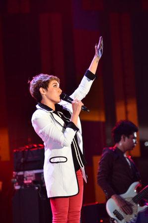 NONTABURI, THAILAND  - OCTOBER 4 : Da Endorphine singer singing in Grammy Wonderland concert on 4 October 2012 at IMPACT Challenger, Nontaburi, Thailand Stock Photo - 15699056