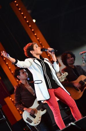 NONTABURI, THAILAND  - OCTOBER 4 : Da Endorphine singer singing in Grammy Wonderland concert on 4 October 2012 at IMPACT Challenger, Nontaburi, Thailand Stock Photo - 15699410
