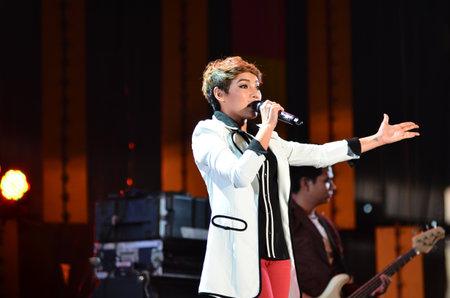 NONTABURI, THAILAND  - OCTOBER 4 : Da Endorphine singer singing in Grammy Wonderland concert on 4 October 2012 at IMPACT Challenger, Nontaburi, Thailand Stock Photo - 15699021