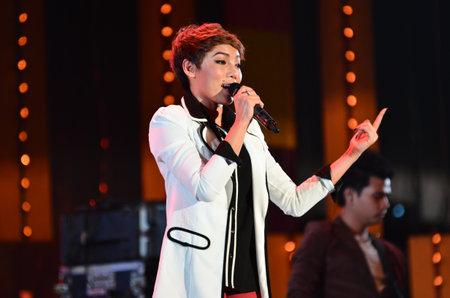 NONTABURI, THAILAND  - OCTOBER 4 : Da Endorphine singer singing in Grammy Wonderland concert on 4 October 2012 at IMPACT Challenger, Nontaburi, Thailand Stock Photo - 15699062