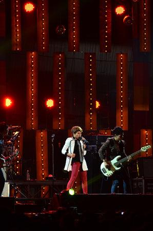 NONTABURI, THAILAND  - OCTOBER 4 : Da Endorphine singer singing in Grammy Wonderland concert on 4 October 2012 at IMPACT Challenger, Nontaburi, Thailand Stock Photo - 15699038