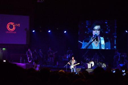 BANGKOK, THAILAND � NOV 18 : Joe  Nuvo or Jirayut Wattanasin Christian singer singing and show in Crossover Live  Concert on 18 November 2012 at Bangkok Christian College, Bangkok, Thailand Stock Photo - 16373399