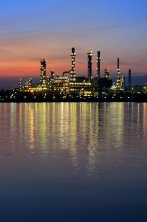 Sunrise scene of Oil refinery, Bangkok, Thailand photo