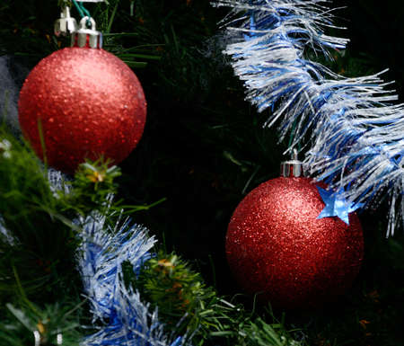 kerstbal rood: Red christmas ball hanging on christmas tree, Christmas concept Stockfoto