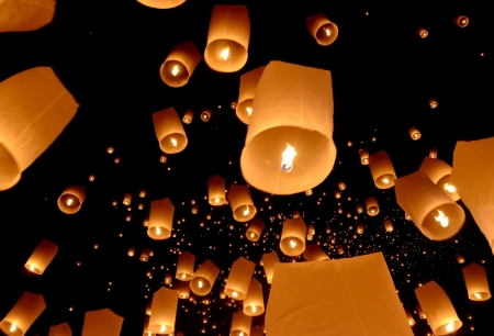 Floating lantern, Yi Peng Balloon Festival in Chiangmai Thailand  photo