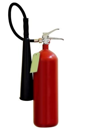 foam safe: Fire extinguishers isolated on white background Stock Photo