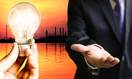 Businessman need energy for manufacture photo