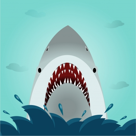 large mouth: Shark open mouth vector