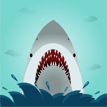 shark teeth: Vector del tibur�n boca abierta