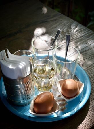 Soft-boiled egg in retro style with morning light  photo
