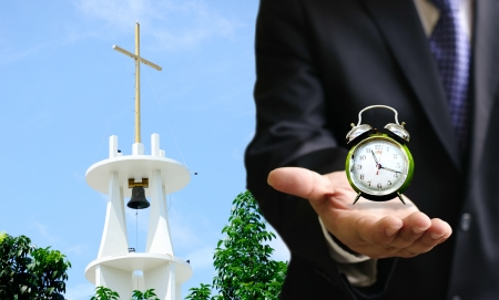 god s hand: Time to go to church concept