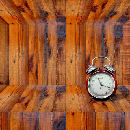 Clock inside wooden shelf, Time concept photo