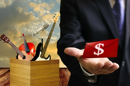 entertainment industry: Entertainment industry make benefit, Music school concept