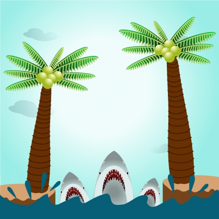 Sharks in ocean with island background Vector