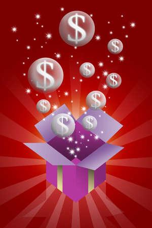 legacy: Bubble money in gift box illustration Stock Photo