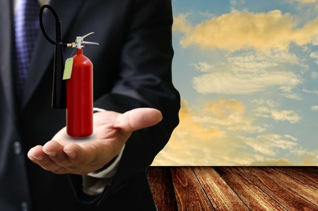 extinguish: Safety from the fire concept, Fire extinguisher on hand
