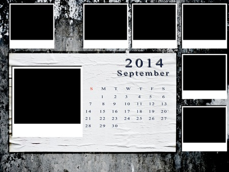 Calendar 2014 set with photo frame on grunge wall photo