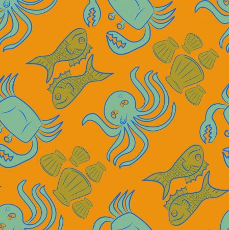 Sea animals pattern background, Sketch style photo