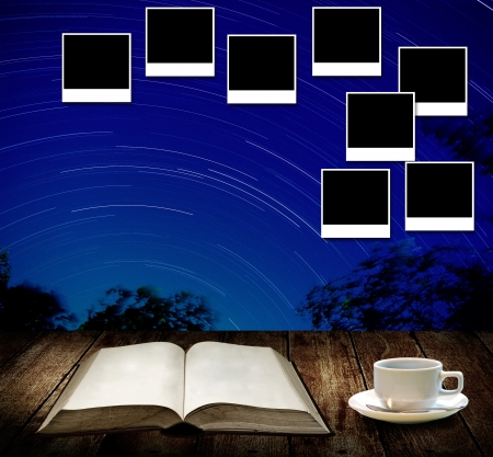 Read astronomy book and photo frame post on wall photo