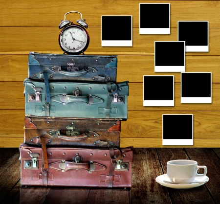 tabel: Time to rest at home with coffee cup and nice photo memories concept Stock Photo