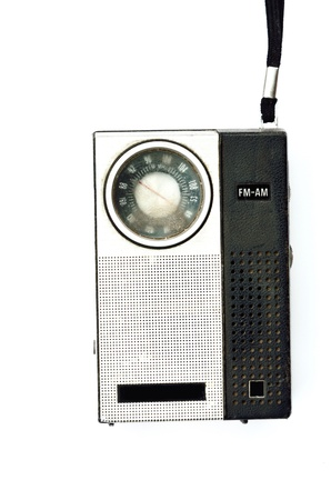 Retro pocket radio on white background, Mass communication concept photo