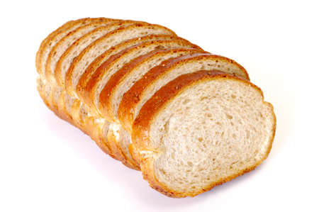Whole wheat bread on white background photo