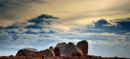 Rock with cloud background, Landscape photo
