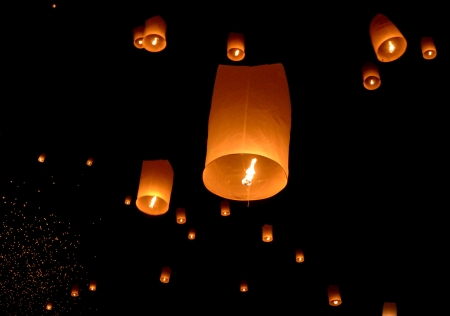 Floating lantern, Yi Peng Balloon Festival in Chiangmai, Thailand  photo
