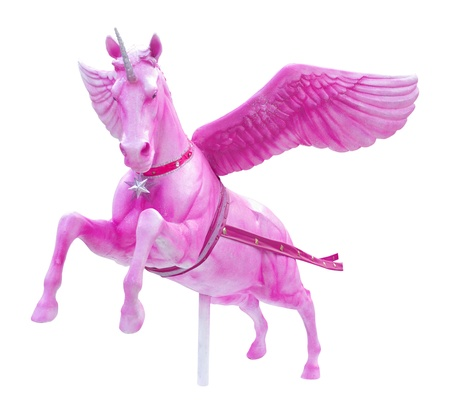 Pink perseus horse statue isolated photo