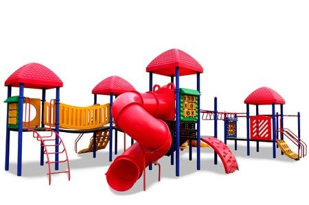 playground children: Zona de juegos infantiles de colores s aislados en fondo blanco