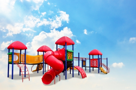 Colorful children s playground on the cloud photo