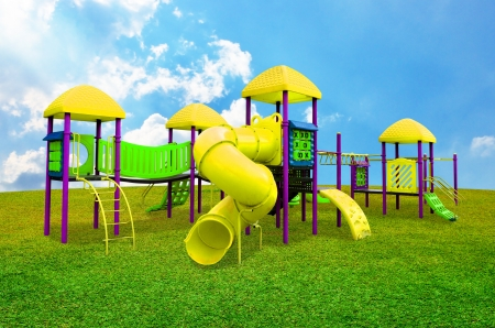 jungle gym: Children s playground in garden with nice sky