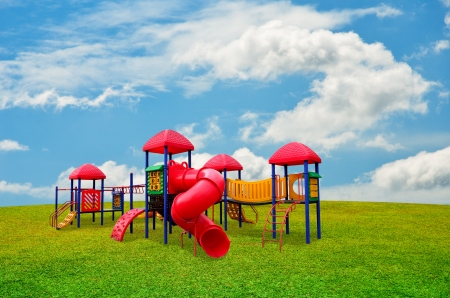 Children s playground in garden with nice sky Stock Photo - 20008300