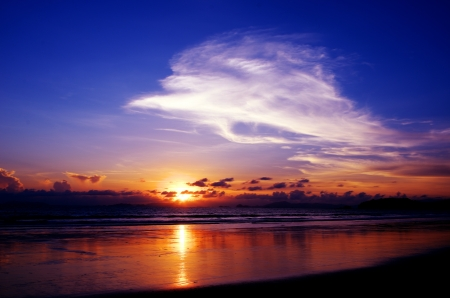 Sunset sky at Ao yai, Payam island, Ranong, Thailand photo