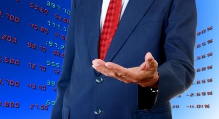 Senior businessman asking the analyst stock exchange data from broker photo