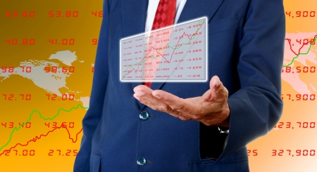 ownership: Senior businessman carry stock exchange data board, Stock exchange data concept