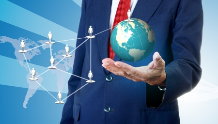 network marketing: Businessman accessing global social network, Network marketing concept