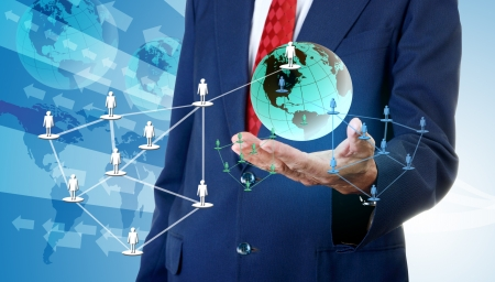 accessing: Businessman accessing global social network, Network business concept Stock Photo