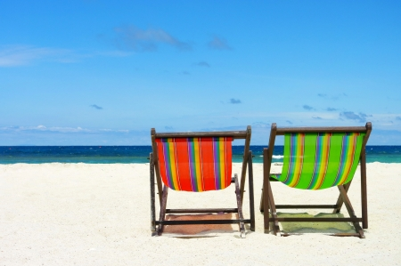 Beach chair on perfect tropical sand beach, Samui Island, Thailand photo