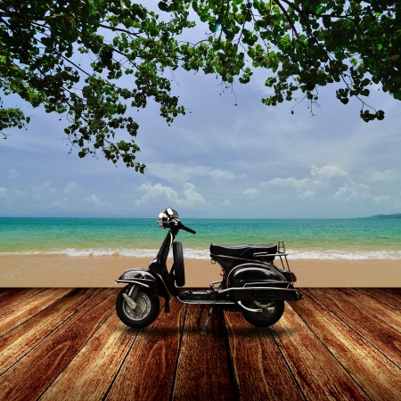 summer time: Scooter on the beach, Travel in summer time concept Stock Photo