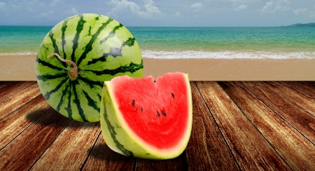 Watermelon from japan on beach, Summer concept
