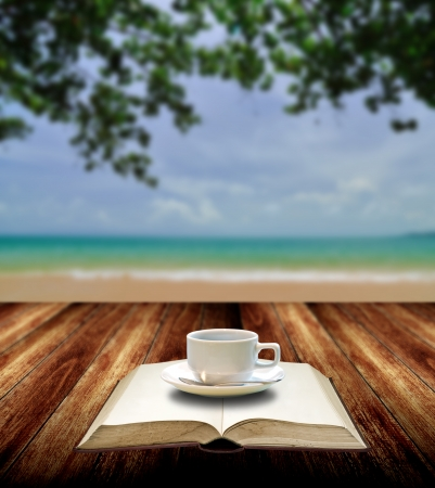 Drink coffee and read book with nice sea view  photo