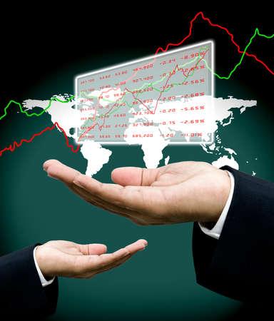 fund world: Analyst data in investor hand with world map background