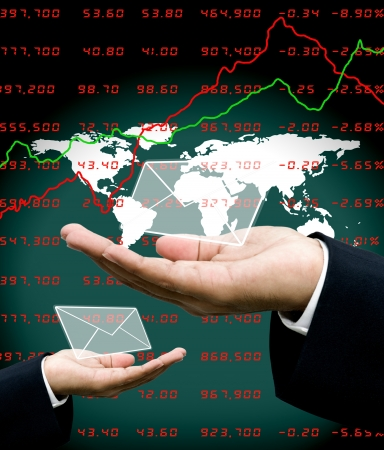 News from stock market to investor hand with world map background photo