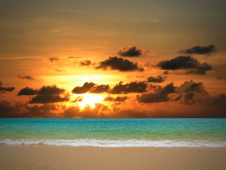 Summer sunset on beach, Thailand photo