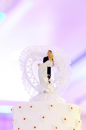 Wedding couple doll on top of wedding cake photo