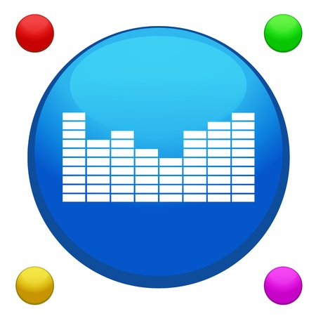 Equalizer icon button vector with 4 color background included