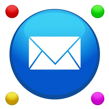 Email icon button with 4 color background included Vector